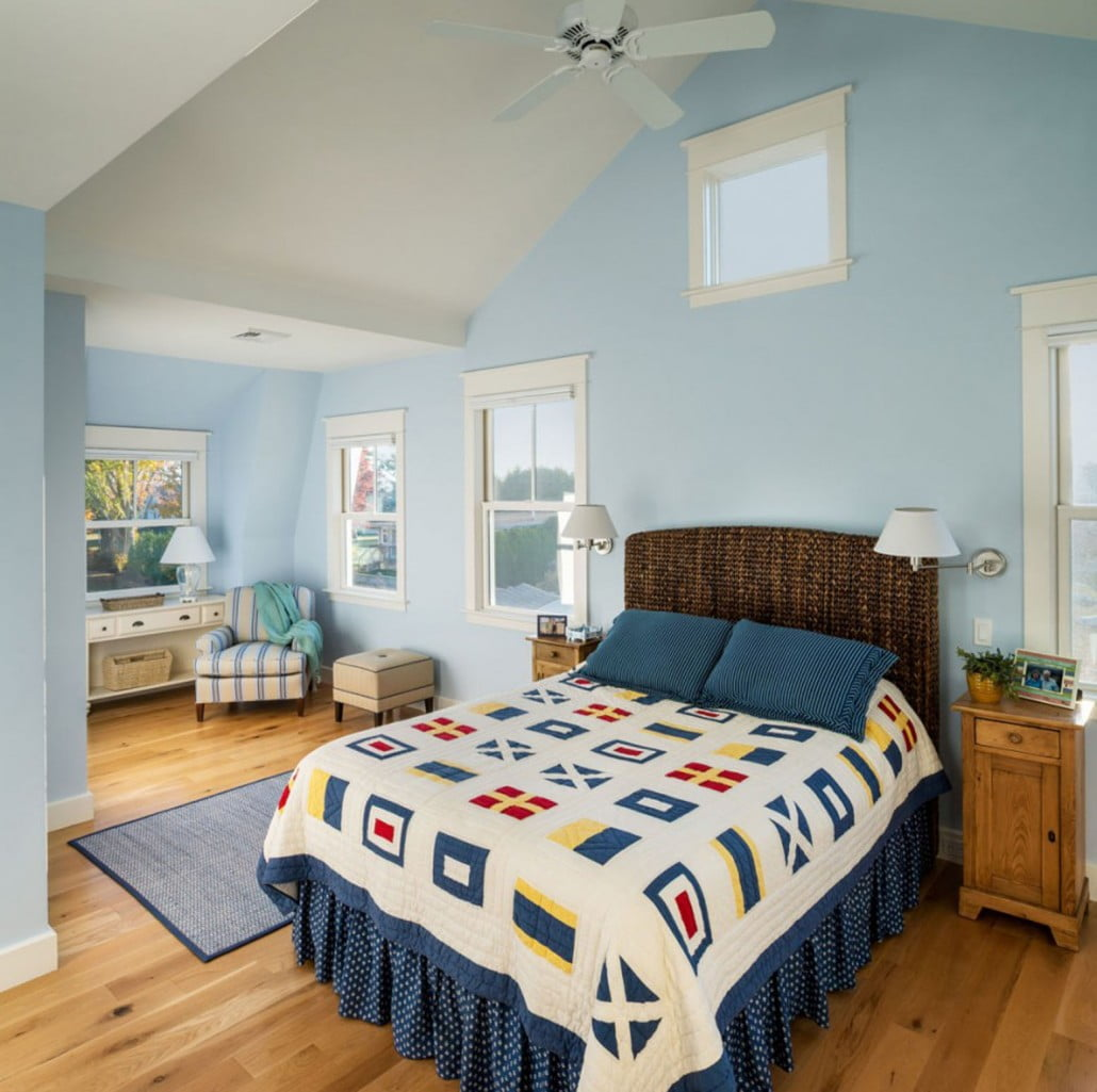Vaulted ceilings and  plenty of windows make the bedrooms spacious.