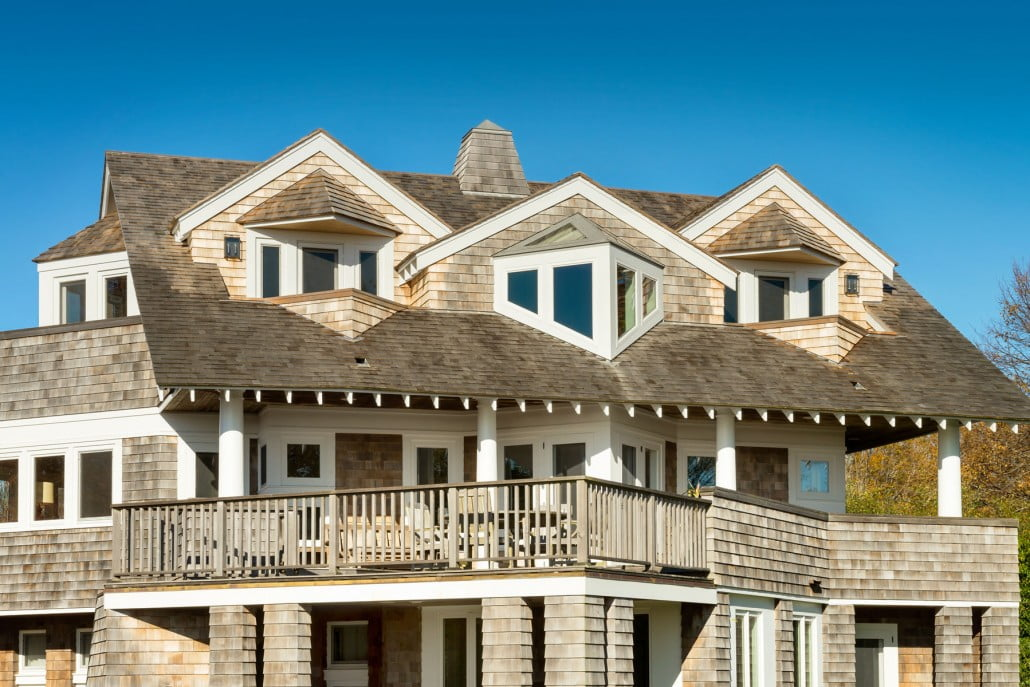 Ocean view dormers with cedar shingled private sitting areas.