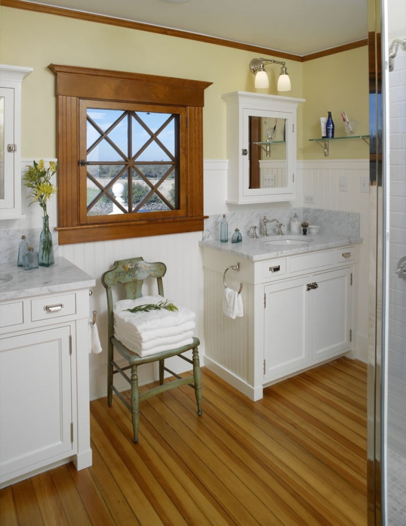 Four bathrooms were updated to reflect the historic nature of the home, including the bead board paneling and medicine cabinets trim to match the window trim.