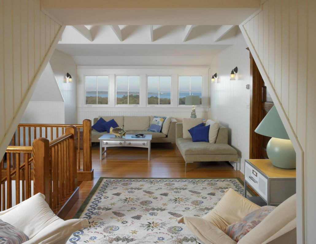 Ocean views can be seen from the home's third floor reading nook which was created by adding a dormer to the attic, utilizing space near the stairway landing.