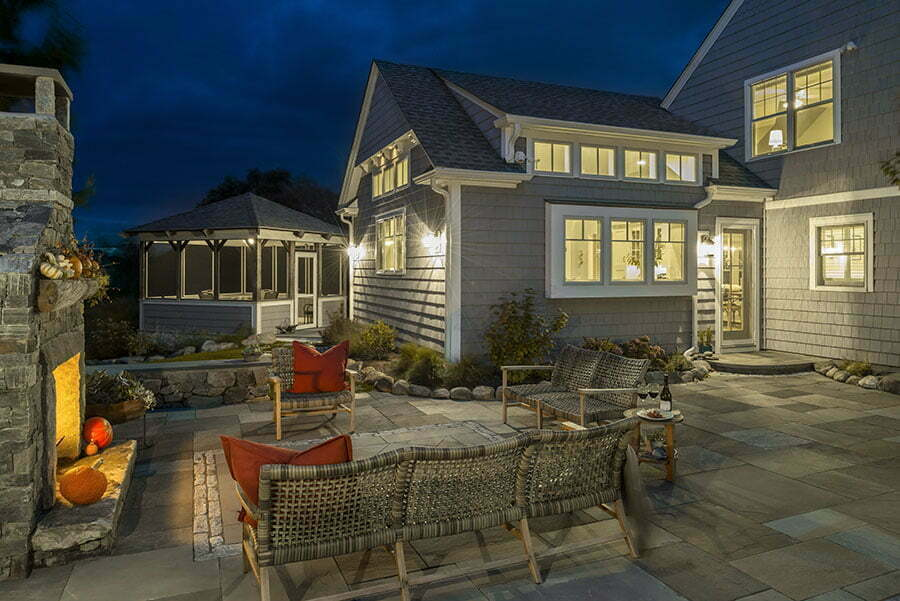 The bluestone patio with fireplace creates a perfect spot for evening entertaining.