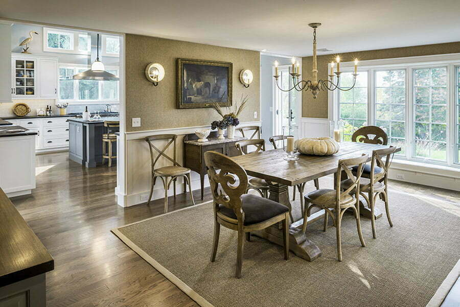 Two four foot openings provide plenty of room for traffic flow between the dining room and the kitchen.